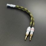 3.5mm4極バランス – 2.5mm2極x2 Ratocバランス 変換ケーブル Mogami2944 10cm アーミーカモ