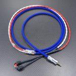SONY MDR-EX1000用ケーブル カナレ L-4E5C エレクトリックブルー・レッド・ホワイト編組チューブ仕上げ 120cm