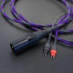 SENNHEISER HD600用XLR4極バランスケーブル Mogami2534 パープル&アッシュ編組チューブ仕上げ 200cm、及び対RME ADI-2 PRO用変換ケーブル Mogami2534 カーボン編組チューブ仕上げ 10cm