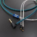 MMCX – HD650用プラグ 極短変換アダプタ 60度、 汎用MMCX 4.4mm5極バランスケーブル ACROLINK銀メッキ7NOCCツイスト オーロラ *Numberd