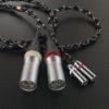 3.5mm3極x2 – XLR3極プラグx2 変換ケーブル ブラック&メタリック & 3.5mm3極 – 6.3mm3極プラグ 変換ケーブル リフレクト・ブラック Mogami2799デュアルモノラル  *Numberd